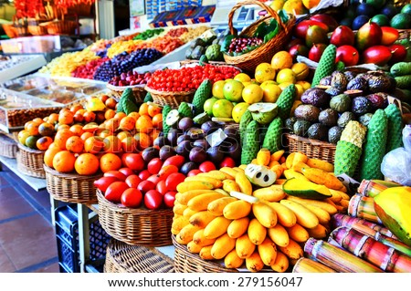 Fresh exotic fruits in Mercado Dos Lavradores.  Funchal, Madeira - stock photo