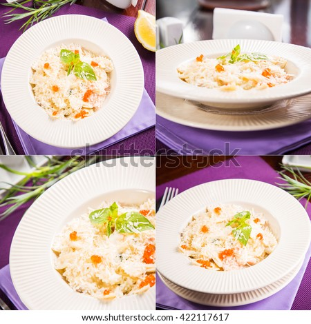fresh farfalle with basil and caviar,sprinkled with cheese in restaurant - stock photo