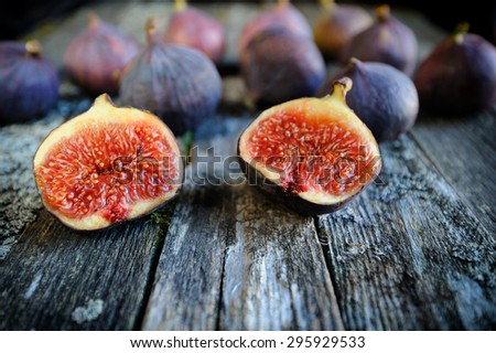 Fresh figs fruits close-up - stock photo