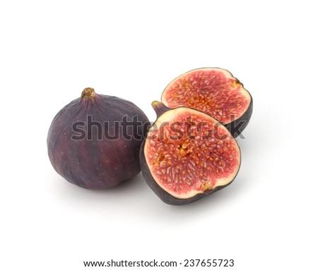 Fresh figs Fruits isolated on white background - stock photo