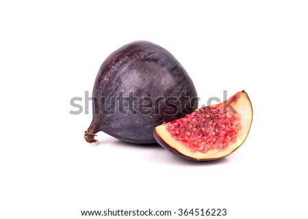 Fresh figs sliced with a slice isolated on white background - stock photo