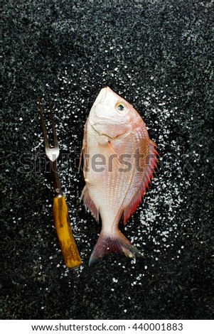 fresh Fish and Ingredients: lime, parsley, olive oil, blue onion and white wine. healthy eating concept. Fork Grill - stock photo