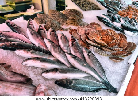 fresh fish and seafood on display in a fish market - stock photo
