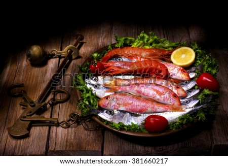 fresh fish on the scale - stock photo