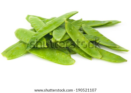Fresh Flat Green Beans On White Background - stock photo