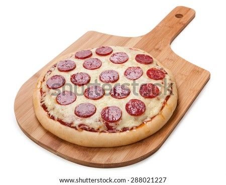 Fresh flavorful pepperoni pizza isolated on white background. - stock photo