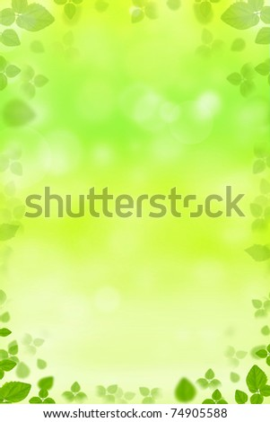 Fresh floral background frame with leaves - stock photo