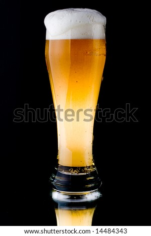 Fresh foamy beer in a glass on a black background. - stock photo