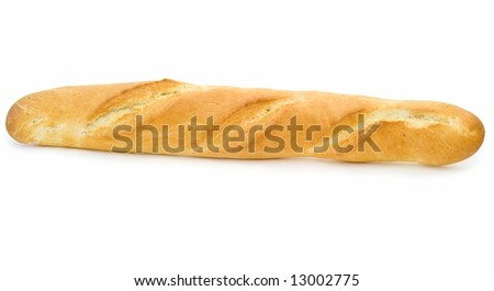 fresh French bread on a white background - stock photo