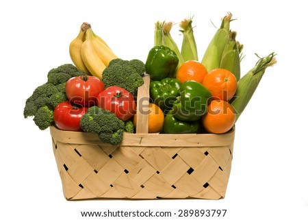 Fresh from the garden vegetables and fruits/ Basket Full Of Fresh Fruits And Vegetables - stock photo