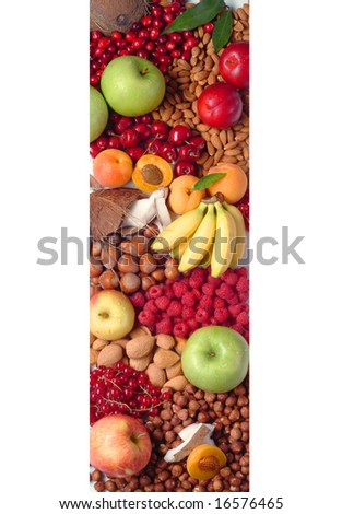 Fresh Fruit and Nuts - stock photo