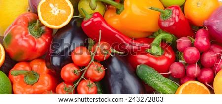 fresh fruit and vegetable background - stock photo