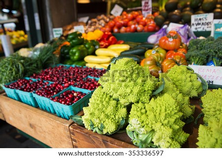fresh fruit and vegetable market - stock photo