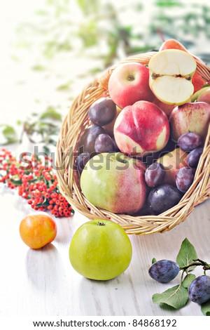 Fresh fruit basket - stock photo