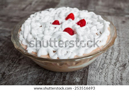 Fresh  fruit dessert with raspberries  - stock photo