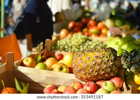 Fresh fruit displayed on a market stand - stock photo