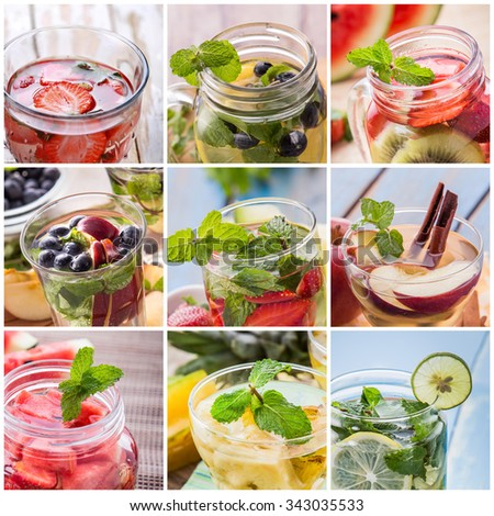 fresh fruit Flavored infused water mix of  fruits slices, Strawberry, blueberry, kiwi, cinnamon, apple, mint, and star fruit and water.  Infused water - stock photo
