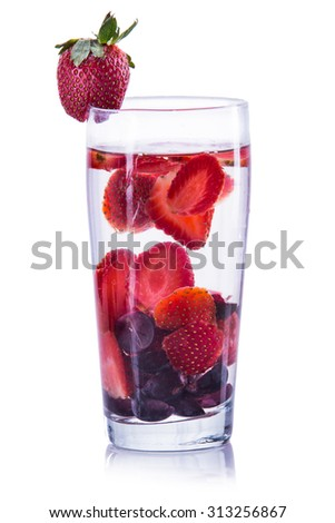 fresh fruit Flavored infused water mix of strawberry and grape .isolated over white background - stock photo