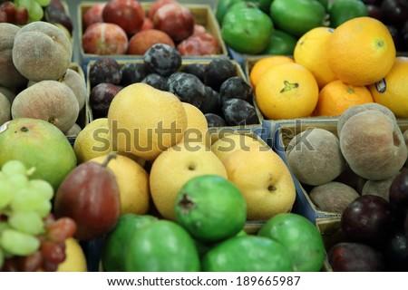Fresh fruit in the market - stock photo