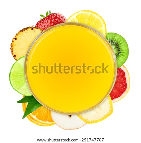 Fresh fruit juice and slices of fruit on white background. Fruit concept - stock photo