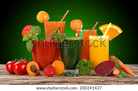 Fresh fruit juice, healthy drinks. - stock photo