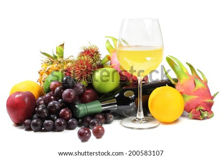 fresh fruit juices, Fruit wine and fruits on white background   - stock photo