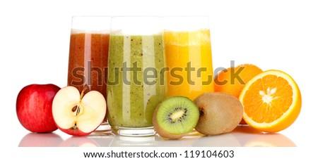 Fresh fruit juices isolated on white - stock photo