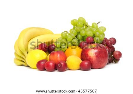 fresh fruit on white - stock photo