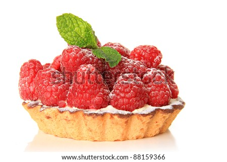 Fresh fruit pie tart with with raspberry - stock photo