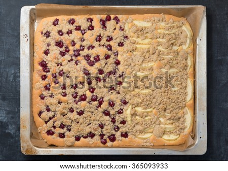 Fresh fruit sheet cake - stock photo