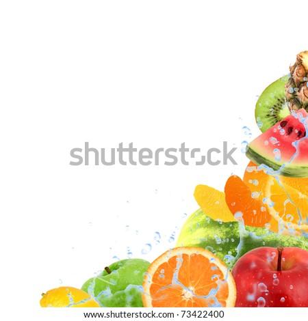 Fresh fruit with splash isolated on white - stock photo