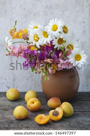 fresh fruits and flowers still life - stock photo