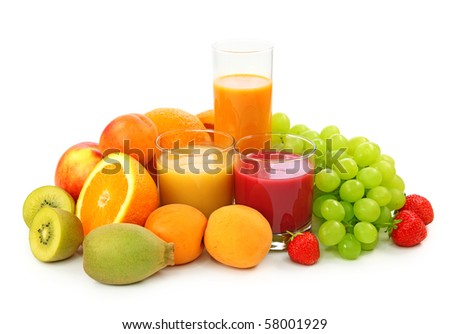 Fresh fruits and juice isolated on white background - stock photo