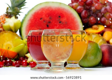 fresh fruits and natural juice - stock photo