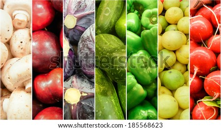 Fresh Fruits and vegetable rainbow made of summer and spring harvest - stock photo