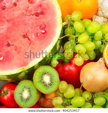 Fresh fruits and vegetables. Food background - stock photo