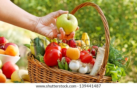 Fresh fruits and vegetables - healthy, organic food - stock photo