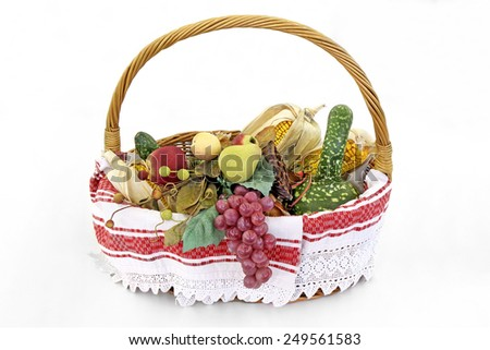 Fresh Fruits and Vegetables in basket isolated on white background - stock photo
