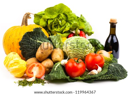 fresh fruits and vegetables isolated on white background - stock photo