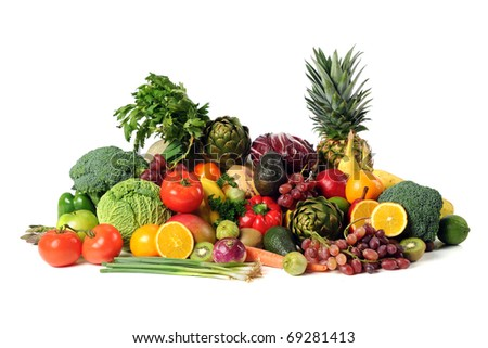 Fresh fruits and vegetables isolated over white background - stock photo