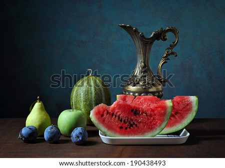 Fresh fruits and vegetables on the table - stock photo
