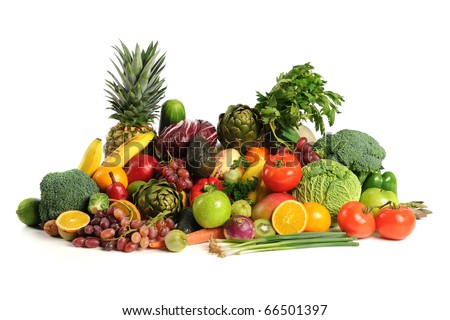 Fresh fruits and vegetables over white background - stock photo