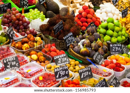 Fresh fruits at a market  - stock photo