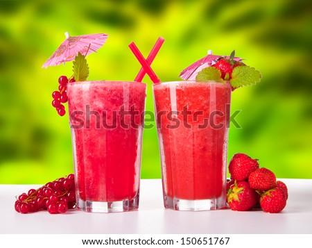 fresh fruits drinks - stock photo