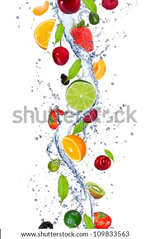 Fresh fruits falling in water splash, isolated on white background [best for web resolution]] - stock photo