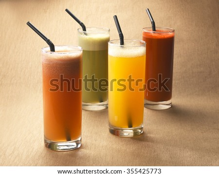 Fresh fruits juice - stock photo