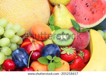 Fresh fruits mix - stock photo