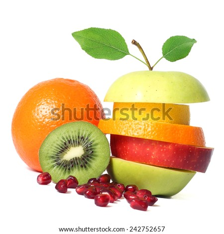 Fresh fruits mix - stock photo