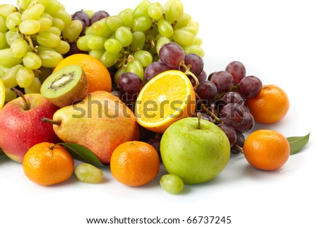 fresh fruits on the white background - stock photo