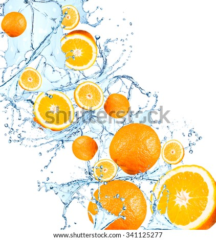 Fresh fruits, orange falling in water splash, isolated on white background - stock photo